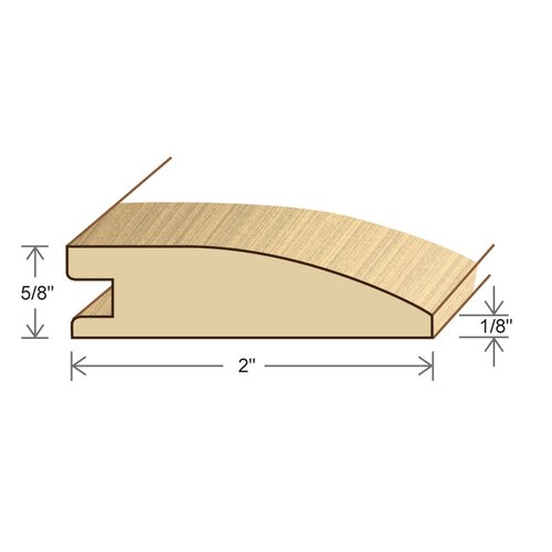 "Moldings Online 0.6"" x 2"" Solid Bamboo Horizontal Reducer in Unfinished"