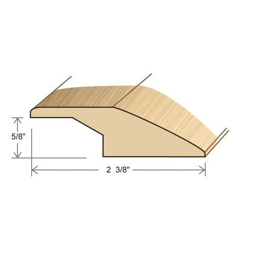 """Moldings Online 0.67"""" x 2.38"""" Solid Hardwood Australian Cypress Reducer Overlap in Unfinished"""
