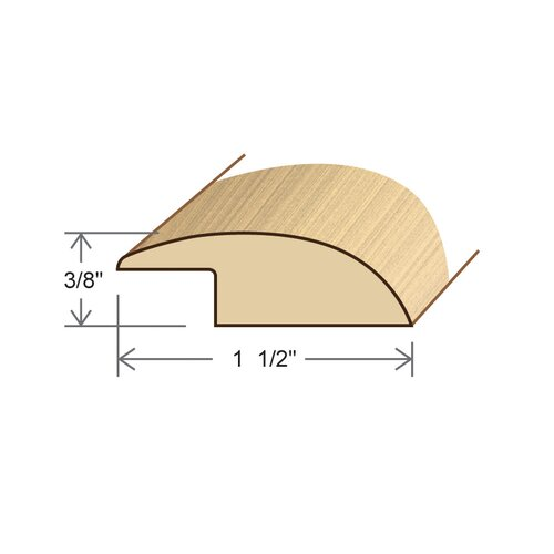 "Moldings Online 0.375"" x 1.5"" Solid Hardwood Acacia Reducer Overlap in Unfinished"