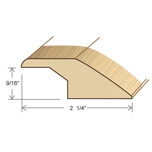 """Moldings Online 0.58"""" x 2.27"""" Solid Hardwood Cherry Overlap Reducer in Unfinished"""