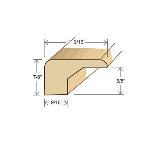 """Moldings Online 0.88"""" x 1.56"""" Solid Hardwood White Oak Square Nose in Unfinished"""
