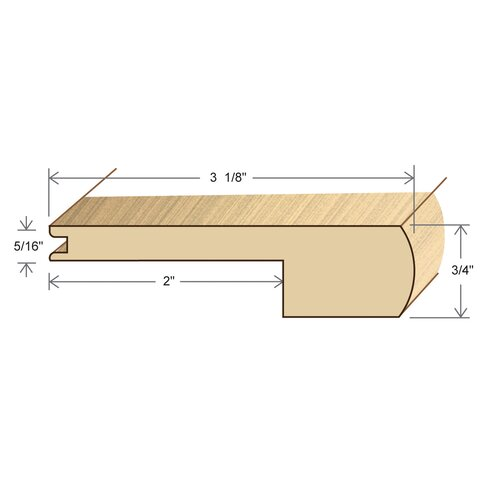 """Moldings Online 0.75"""" x 3.125"""" Solid Hardwood Red Oak Stair Nose in Unfinished"""