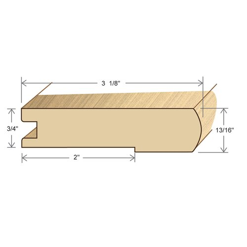 "Moldings Online 0.81"" x 3.13"" Solid Hardwood Tasmainian Oak Stair Nose in Unfinished"
