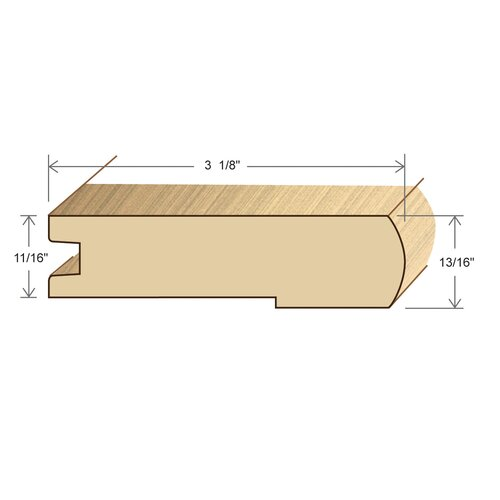 "Moldings Online 0.81"" x 3.38"" Solid Hardwood Ipe Stair Nose in Unfinished"