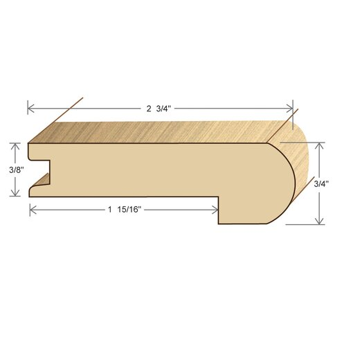 "Moldings Online 0.6875"" x 2.75"" Solid Hardwood Pecan Stair Nose in Unfinished"