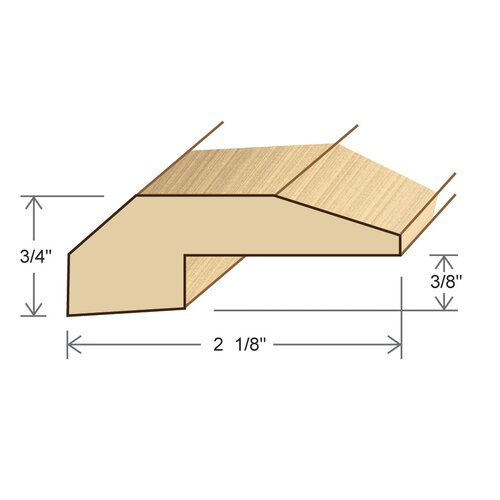 "Moldings Online 0.75"" x 2.125"" Solid Hardwood Cumaru Threshold in Unfinished"