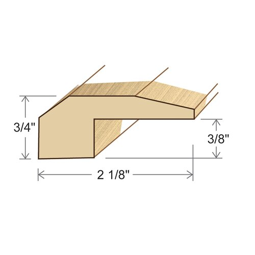 "Moldings Online 0.75"" x 2.13"" Solid Hardwood Beech Threshold in Unfinished"
