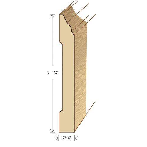 """Moldings Online 0.44"""" x 3.5"""" Solid Hardwood Sapele Wall Base in Unfinished"""