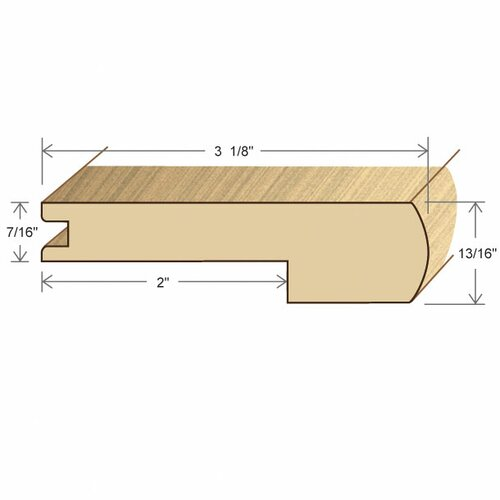 """Moldings Online 0.44"""" x 3.15"""" Solid Hardwood Walnut Stair Nose in Unfinished"""