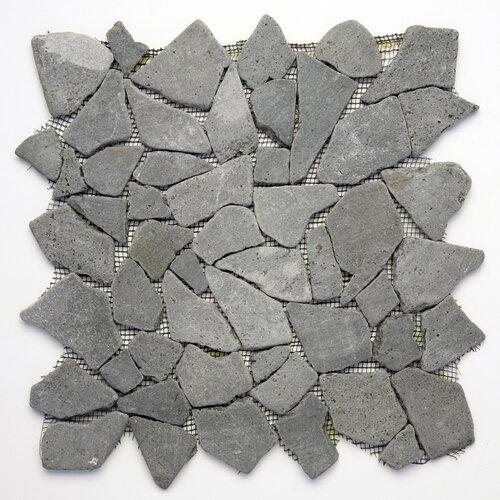 Decorative Pebbles Random Sized Interlocking Mesh Tile in Java Black