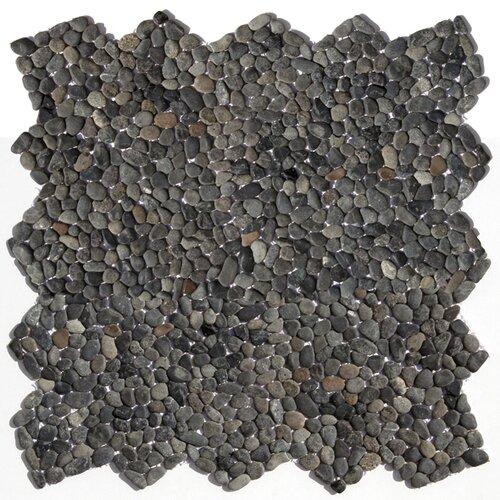 Solistone Decorative Pebbles Random Sized Interlocking Mesh Tile in Barbados Black