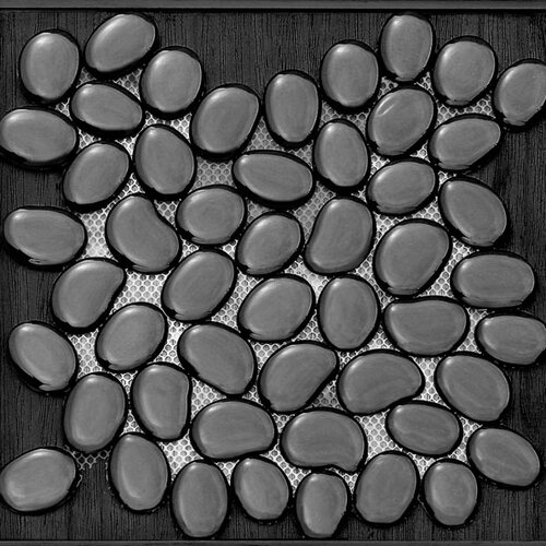 Freeform Random Sized Glass Interlocking Mesh Tile in Ganj (Black)