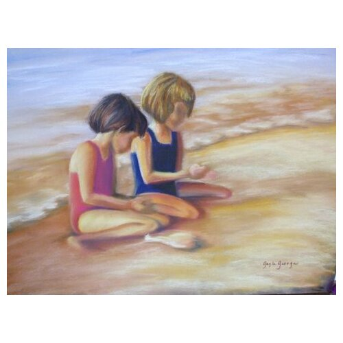 Blackwater Design Blackwater Designs by Gayle George Girls on the Beach Painting Print on Canvas