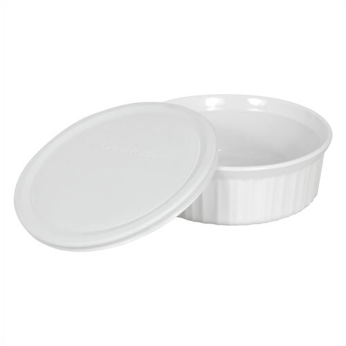 French White 24 oz. Round Dish with Plastic Cover