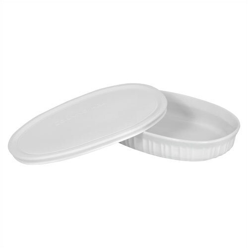 French White 23 oz. Oval Dish with Plastic Cover
