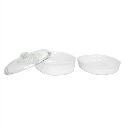 Corningware French White 3 Piece Bake and Serve Set