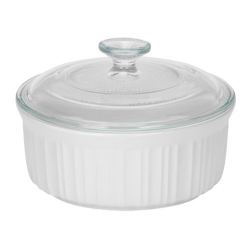 French White 1.5-qt. Durable Stoneware Round Casserole