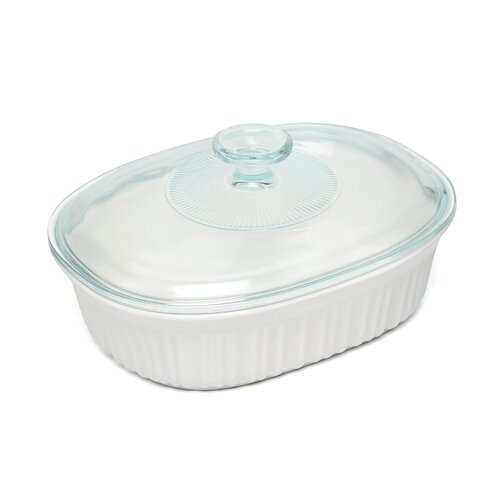 Corningware French White 1.5 Qt. Covered Oval Dish
