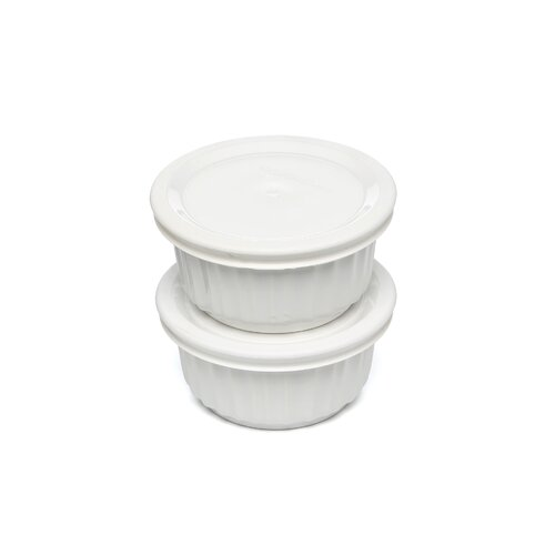 French White Ramekins with Lids (2 Pack)