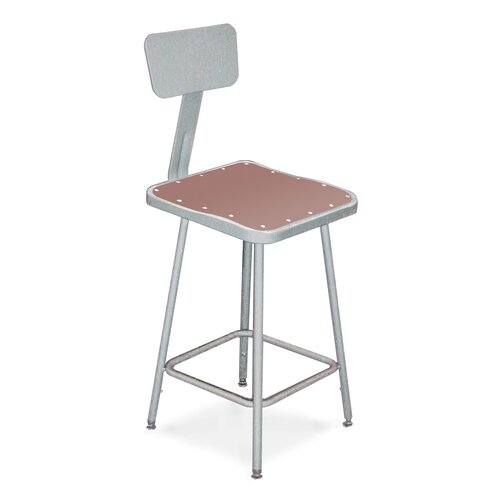 National Public Seating Height Adjustable Stool with optional Backrest