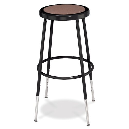 National Public Seating Adjustable Height Stool with Round Hardboard
