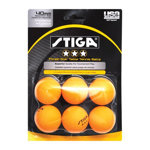 Stiga Three-Star Orange Table Tennis Ball (Pack of 6)