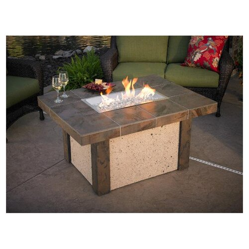 River's Edge Crystal Fire Pit Table with Darkland Tile Top and Burner