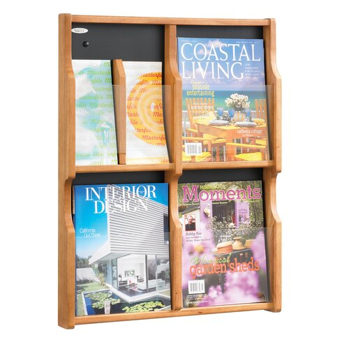 Safco Products Company Expose 4 Pocket Magazine/8 Pocket Pamphlet Display Wall Rack