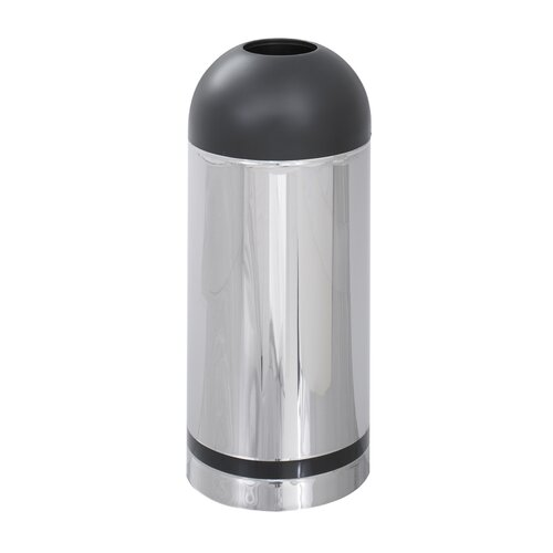 Reflections Open Top Dome Receptacle with Black Accent in Chrome