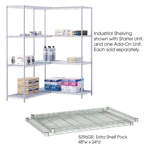"""Safco Products Company Industrial Wire Extra Shelves (48"""" x 24"""" Shelves)"""