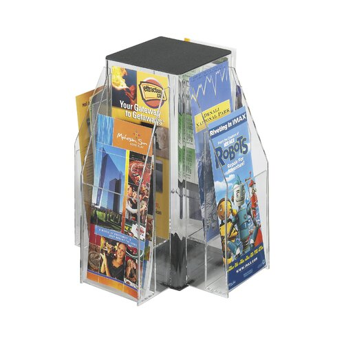 Safco Products Company Safco Clear Pamphlet Table Display with 8 Pockets (2-Tier Square)