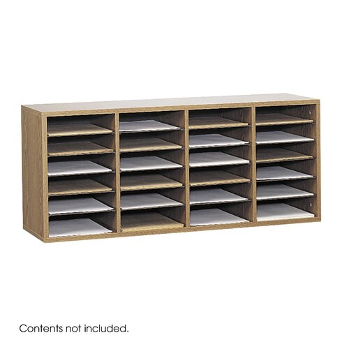 Safco Products Company Medium Wood Adjustable-Compartment Literature Organizer