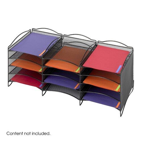 Safco Products Company Onyx Twelve Compartment Mesh Literature Organizer in Black