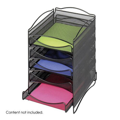Safco Products Company Onyx Five Drawer Mesh Literature Organizer in Black