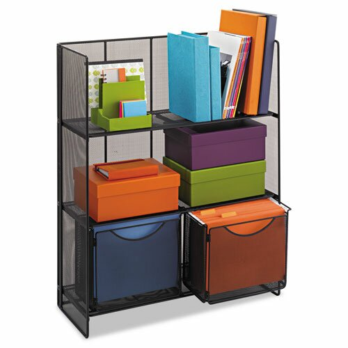 "Safco Products Company Onyx Mesh Fold Up 34.25"" H 3 Shelf Shelving Unit Starter"
