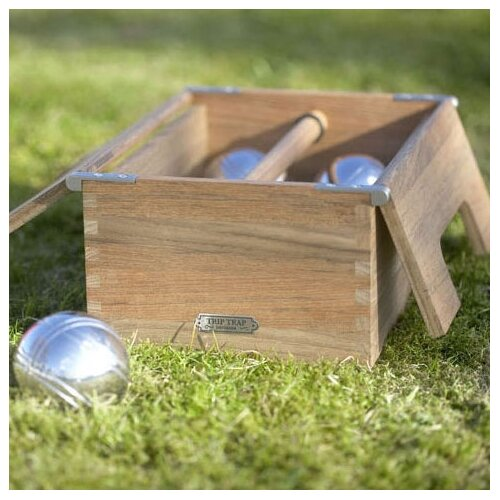 Skagerak Denmark Akiko Teak and Steel Petanque Bocce Game Set