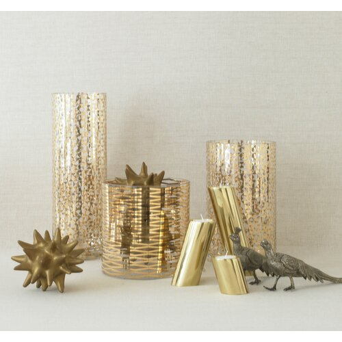 DwellStudio 3 Piece Slanted Brass Candle Holders