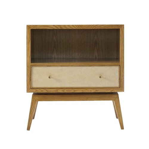 DwellStudio Karl French Oak & Parchment Side Table