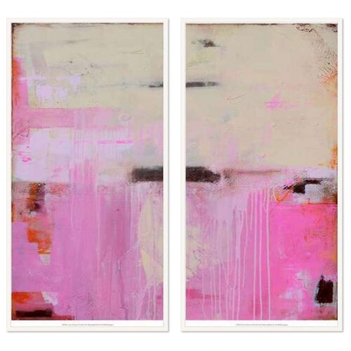 DwellStudio 2 Piece Abstract Oceana Pink Diptych Set