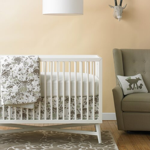 DwellStudio Woodland Tumble Mocha Percale Crib Skirt