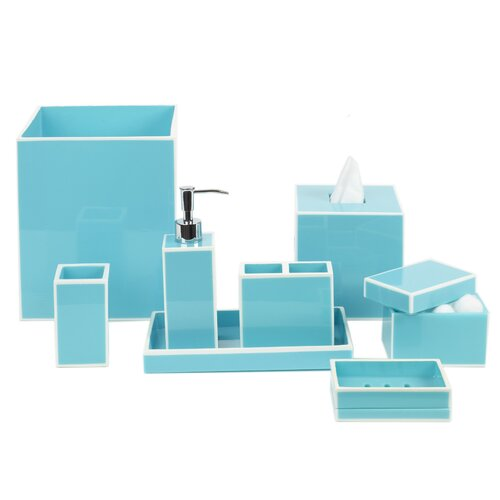 DwellStudio Modern Border Azure Bath Accessories