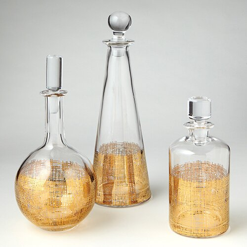 DwellStudio Crosshatch Cylinder Decanter in Gold