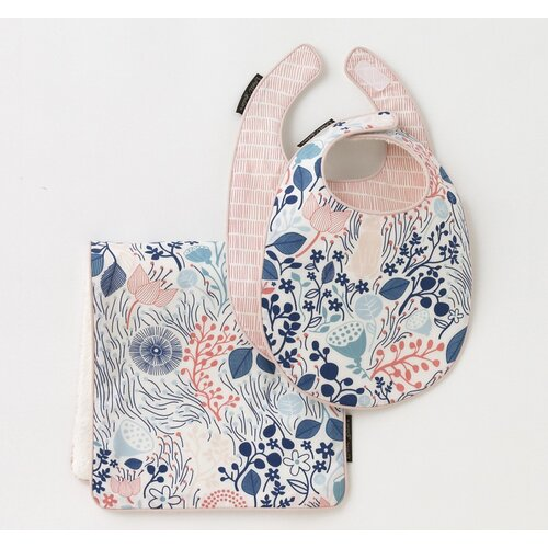 DwellStudio Meadow Powder Blue 2 Bibs/Burp Set