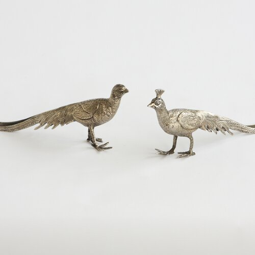 DwellStudio Pair of Metal Peacocks