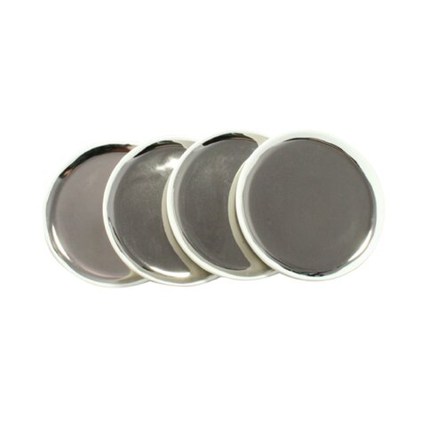 DwellStudio Marais Tidbit Plates in Platinum (Set of 4)