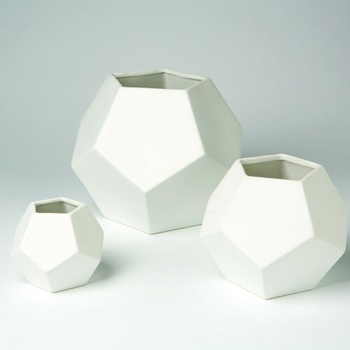 DwellStudio Faceted Vase in White