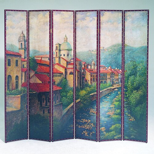 "Wayborn 84"" x 96"" Village on a Canal 6 Panel Room Divider"