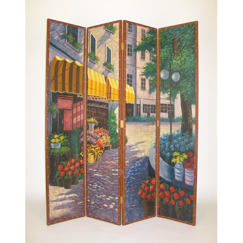 "Wayborn 72"" x 64"" Flower Market 4 Panel Room Divider"