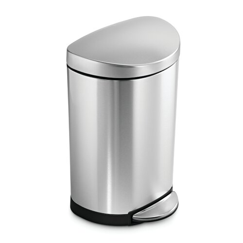 simplehuman 10 l 2 6 gal semi round step trash can in stainless steel amp. Black Bedroom Furniture Sets. Home Design Ideas