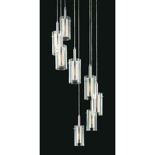 Zylinder Contemporary 8 Light Linear Foyer Pendant